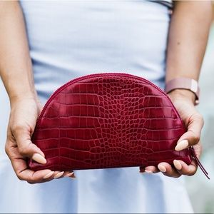Banana Republic Faux Croc Half Moon Clutch